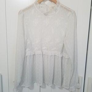 Anthropologie Meadow Rue sheer rose ruffle blouse